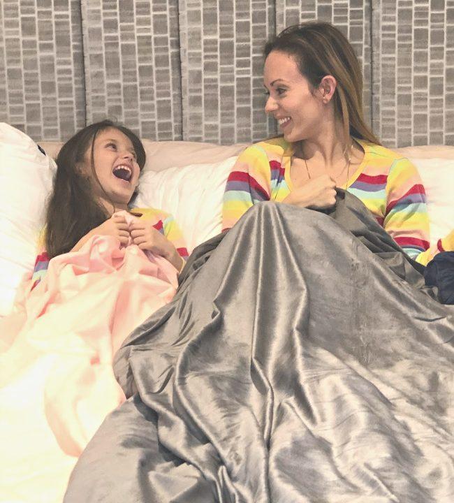 Tranquility Weighted Blanket review Pamela Pekerman mompreneur better sleep tips