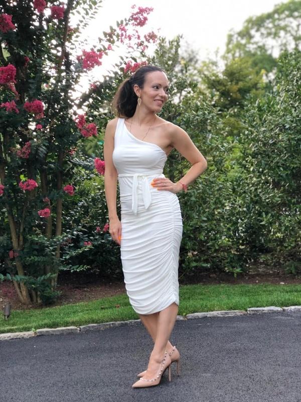 Femme Luxe White One Shoulder Slinky Midi Dress Pamela Pekerman