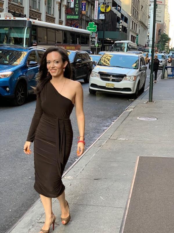 Femme Luxe brown one shoulder bodycon midi dress liliana Pamela Pekerman